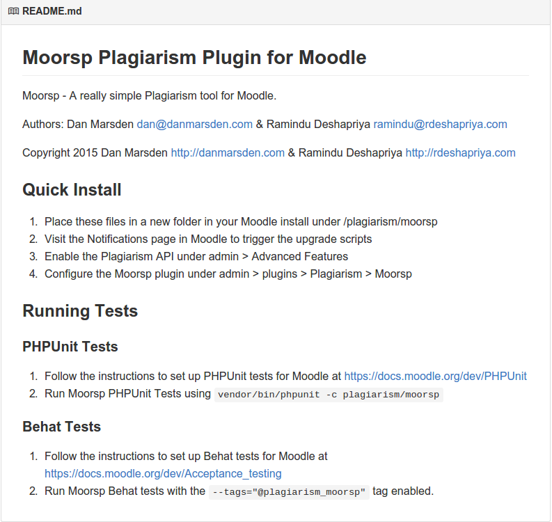 Moorsp README file